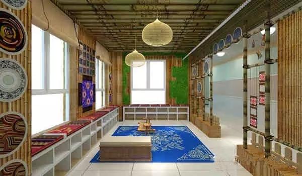 教学楼层里半开放的场所,图书角设计自由度比较高.